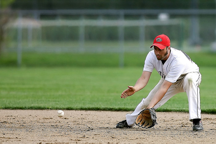 A baseball photography shot of a player during a game