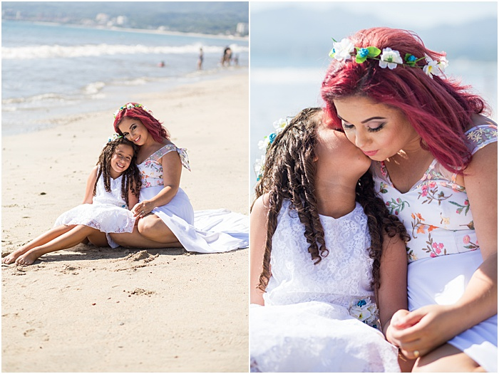 A diptych portrait of a mother and young daughter on the beach - mother daughter photoshoot