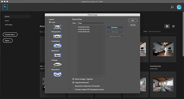 A screenshot of Photoshop's photomerge plugin - best photo stitching software