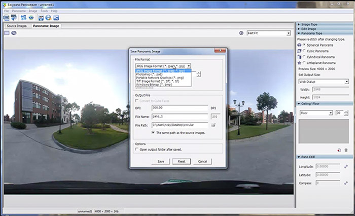 Panoweaver photo stitching software interface