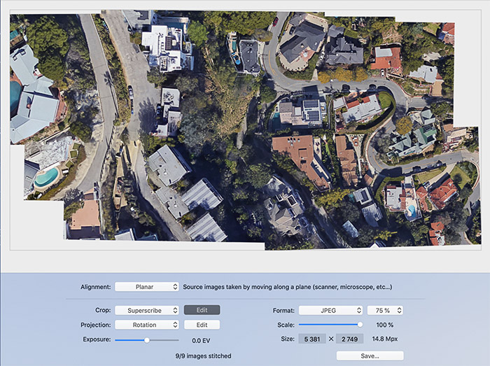 Panorama Stitcher interface - best photo stitching software
