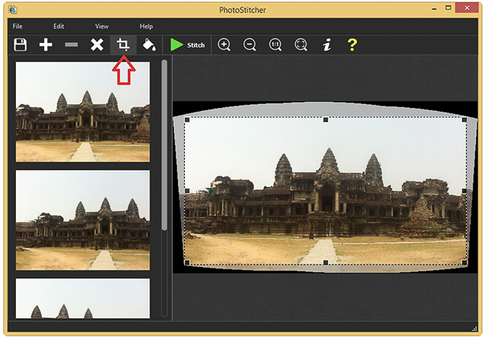 A screenshot of creating panoramic images using Photo Stitcher