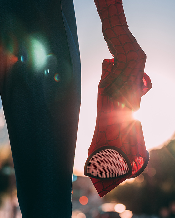 Atmspheric osplay photography of a person dressed as spiderman