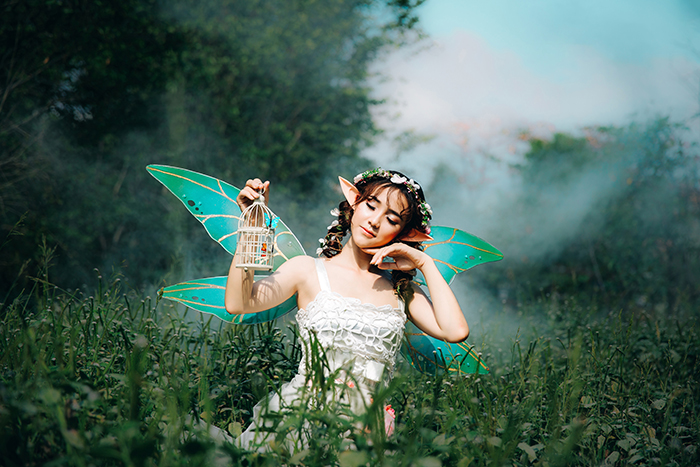 Dreamy cosplay photography of a female model dressed as fairy posing in a field