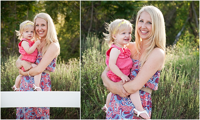 A diptych portrait of a mother and young daughter in a garden - mother daughter photoshoot