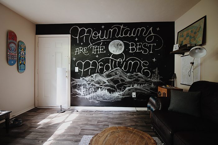 chalk writing on a black wall indoors