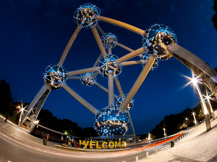 The Atomium in Brussels shot with a fisheye lens