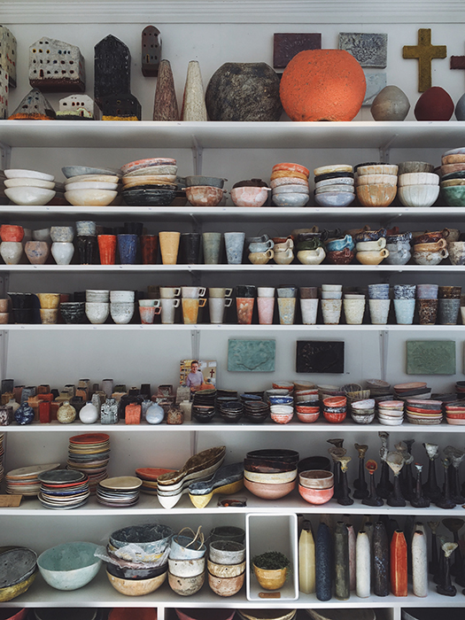 Shelves filled with local Icelandic arts and crafts