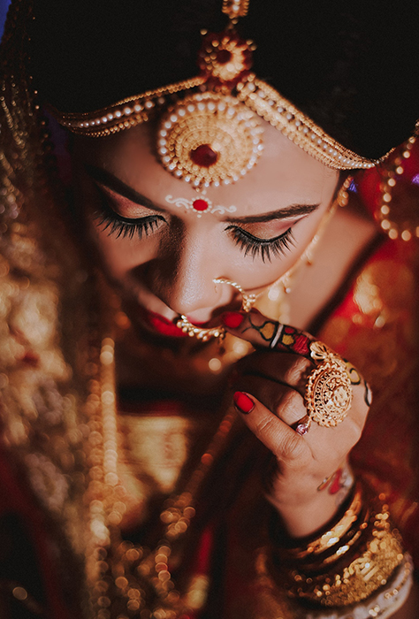 A close up portrait of the bride at an Indian wedding