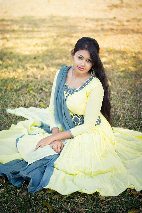 Beautiful wedding portrait of an Indian bride posing in traditional costume - Indian wedding photography
