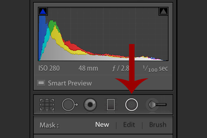 A screenshot showing how to use the Lightroom Radial Filter Tool