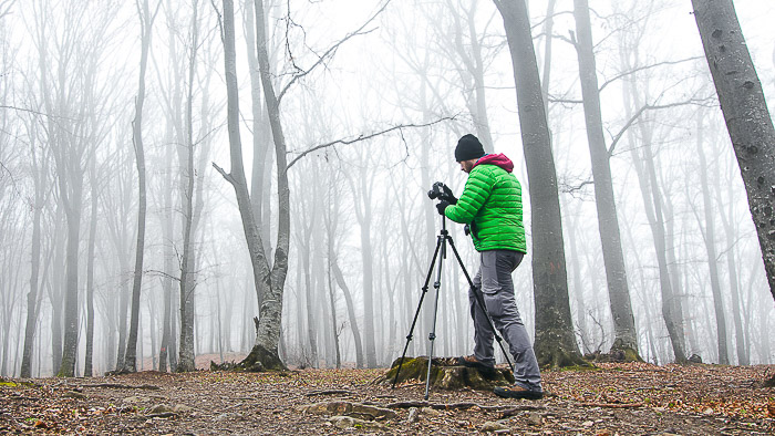 A man shooting fog photography in a forest