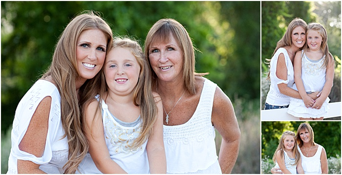 A triptych portrait of a mother and two adult daughters outdoors in a park
