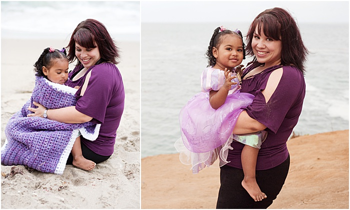A diptych portrait of a mother and young daughter on the beach