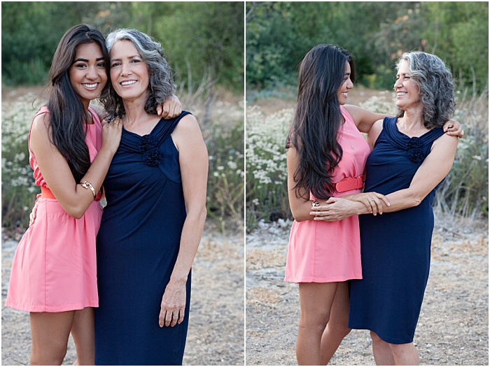 A diptych portrait of a mother and daughter posing outdoors - mother daughter photoshoot