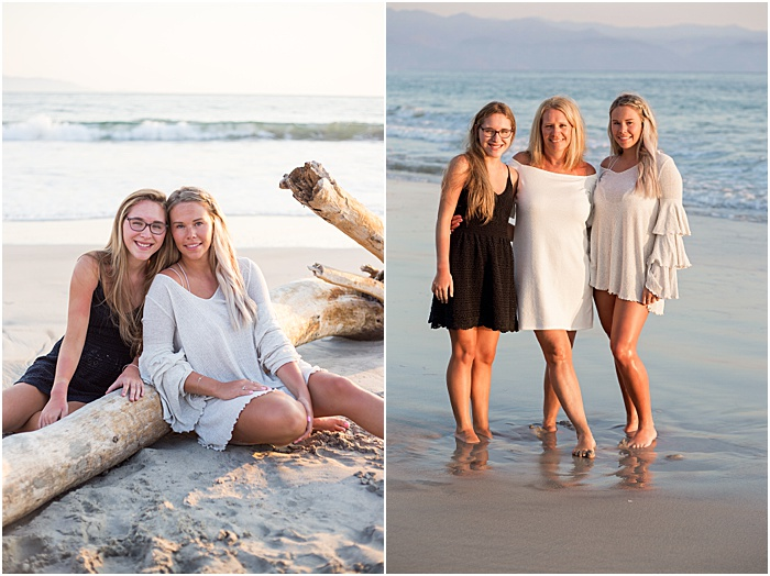 A diptych portrait of a mother and daughters on the beach - mother daughter photoshoot