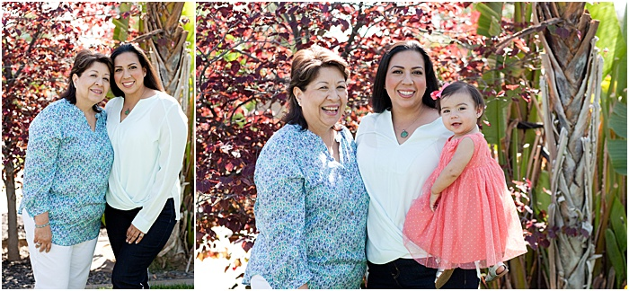 A diptych portrait of a mother and two adult daughters outdoors in a park