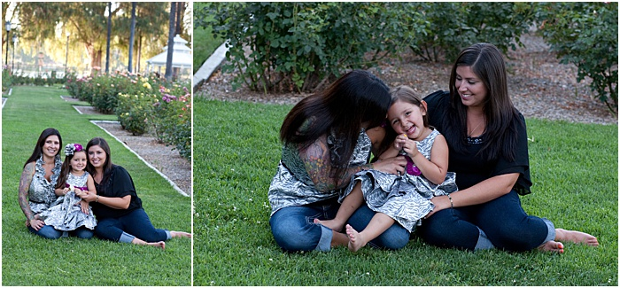 A diptych portrait of a mother and daughters on the grass outdoors - mother daughter photoshoot