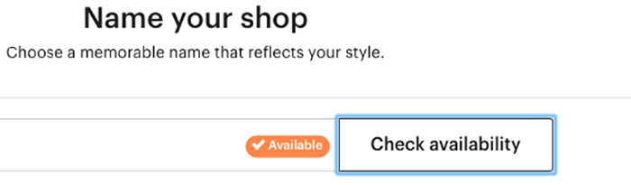 A screenshot of how to name your shop to sell photos on etsy