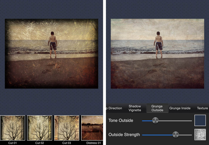 A screenshot of the modern grunge app for adding textures to photos
