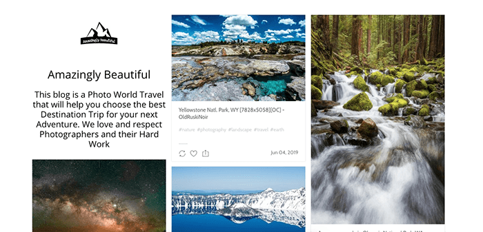 A screenshot from the Amazingly Beautiful Tumblr photography blog