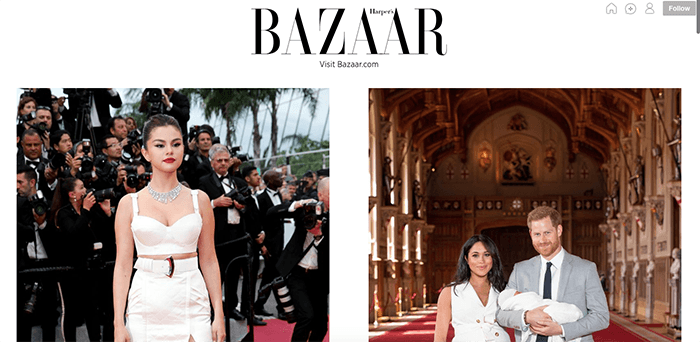 A screenshot from the Harper's Bazaar Tumblr photography blog