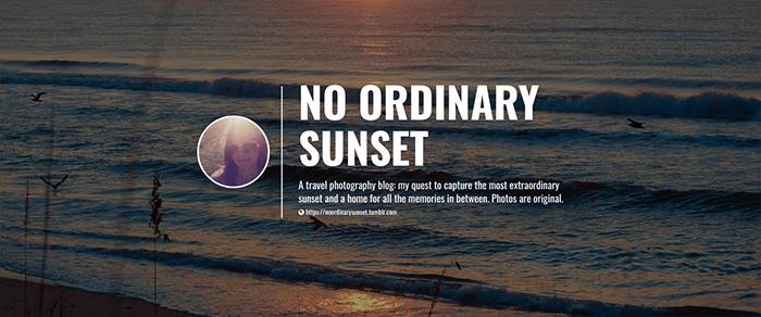 A screenshot from No Ordinary Sunset Tumblr photography blog