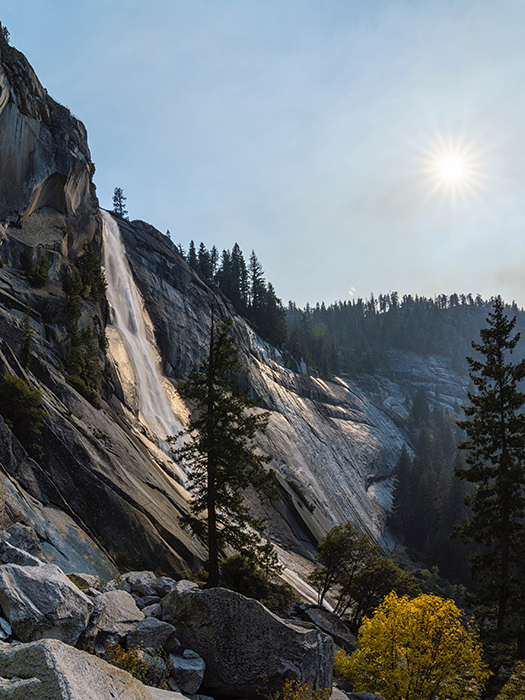 Stunning view of nevada falls taken from the mist trail in yosemite park