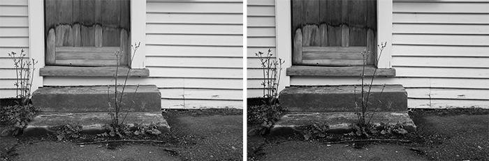 diptych showing the same monochrome photo of a doorstep with different tones