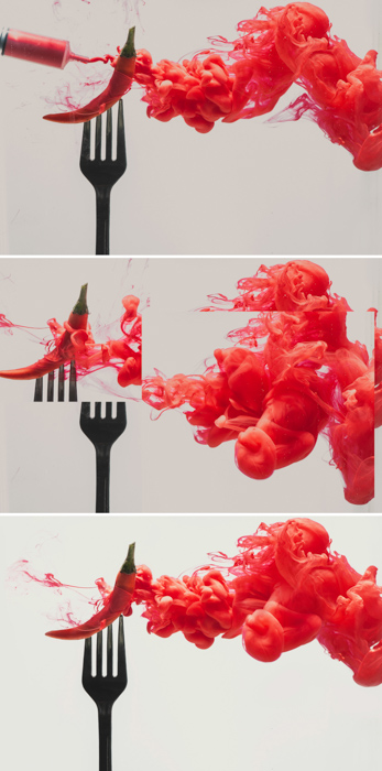 a triptych of an underwater chilli pepper on a fork - setup to shoot colorful paint in water photography