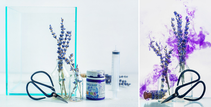 A still life diptych with purple cloud shot using colorful paint in water technique