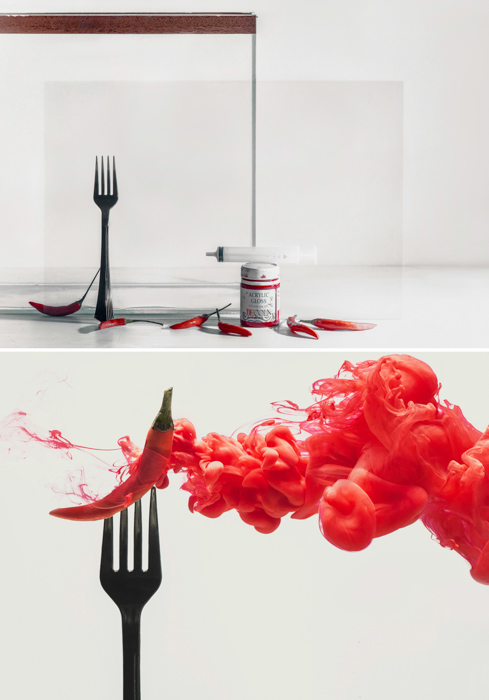 A diptych of a chilli on a fork with red cloud and setup shot using colorful paint in water technique