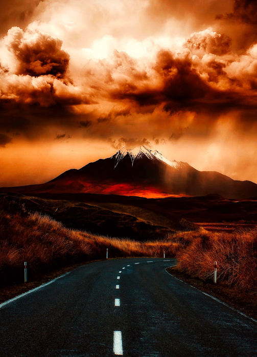 dramatic HDR portrait of an active volcano in low light enhanced using free hdr software