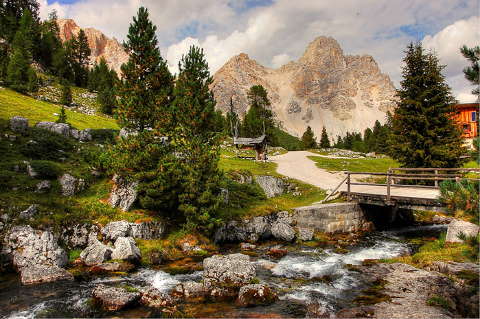 A stunning mountainous landscape over a stream