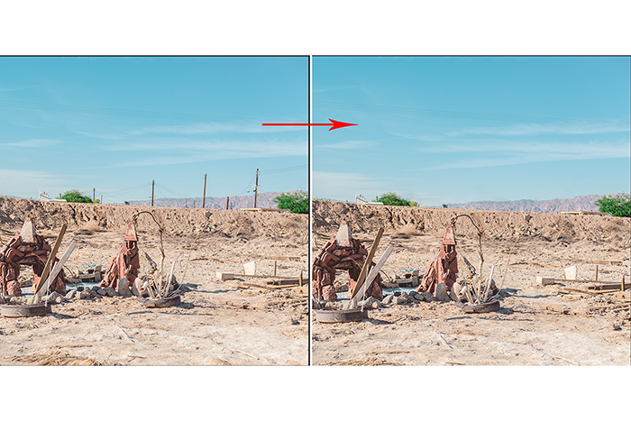 A split screen showing a landscape image before and after using the Spot Removal in Lightroom