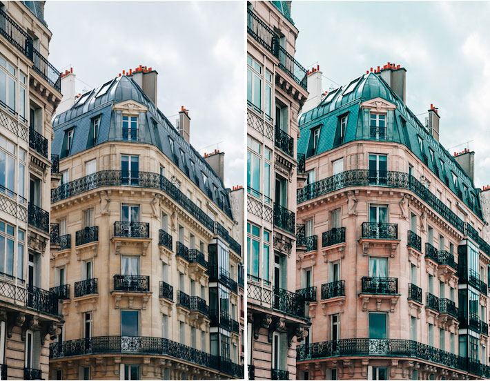 diptych showing architecture photography before and after editing to add the teal and orange effect