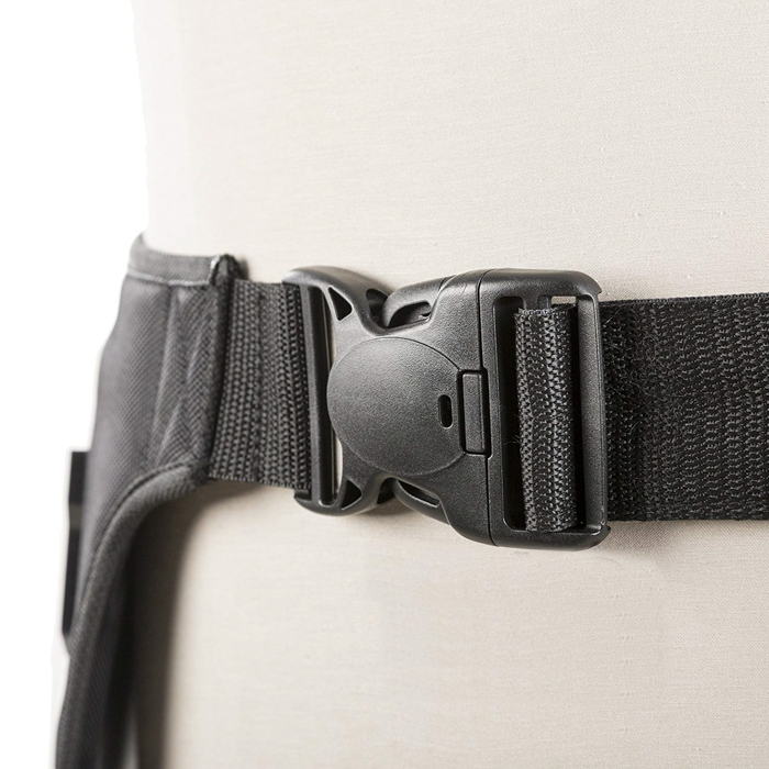 A close up of the Movo MB600 Universal Camera Belt Holster on a mannequin
