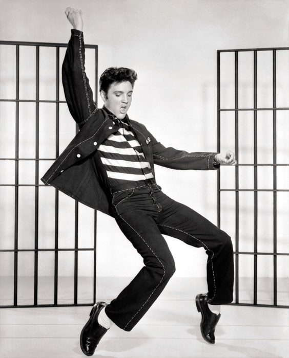 black and white vintage portrait of Elvis dancing
