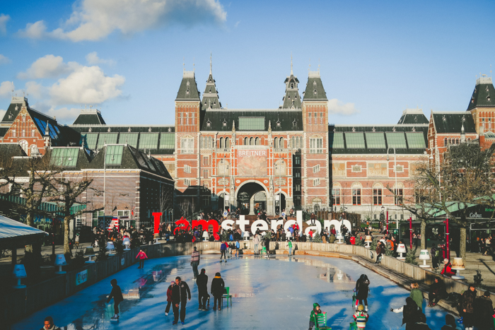 The I Amsterdam sign with the towering Rijksmuseum in the background