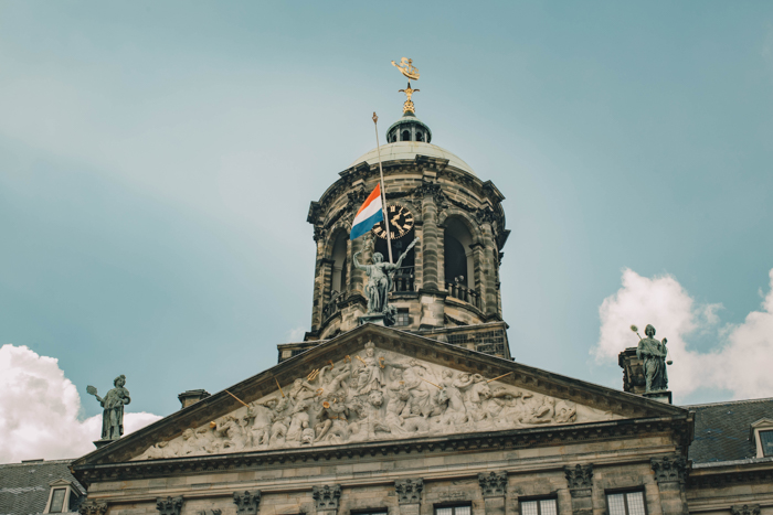 Exterior detail of The Royal Palace in Amsterdam