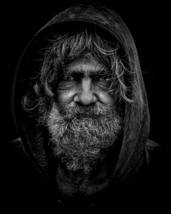 dramatic high contrast portrait of an old man