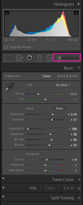 A screenshot showing how to modify the clarity of a selection of your image using the Brush Tool - clarity tool lightroom