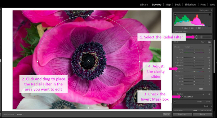 A screenshot showing how to modify the clarity using a radial filter - clarity tool lightroom