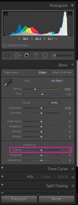 A screenshot showing how to use the Slider to Adjust Clarity in Lightroom