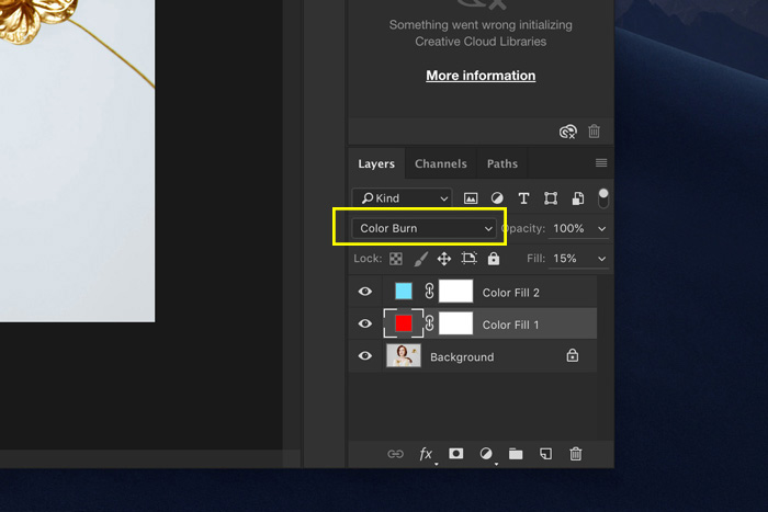 A screenshot showing how to set blend modes in Photoshop