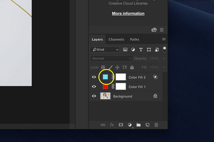 a screenshot showing selected layer in Photoshop