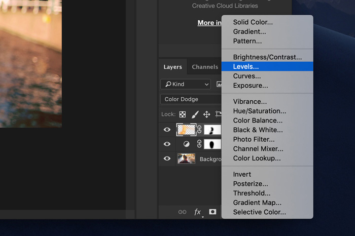 a screenshot showing how to select levels in Photoshop