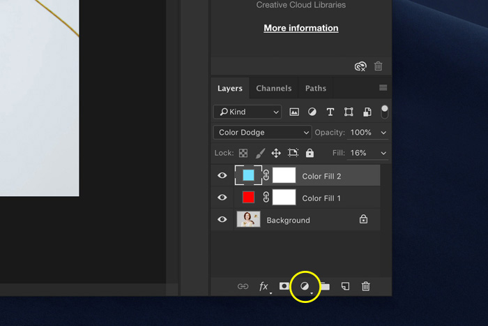 A screenshot showing how to add solid layers in Photoshop