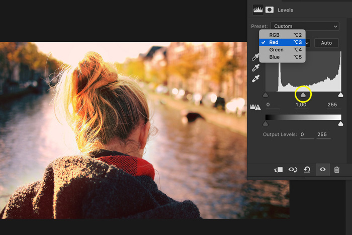 a screenshot showing how to use RGB menu in Photoshop