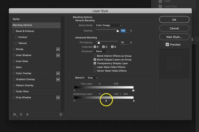 a screenshot showing blending option in Photoshop